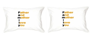 "Remember #Mom and #Dad told you I love you every night when they tucked you into bed? Now it's your turn to do the same for them, and our ""F.A.M.I.L.Y."" pillowcase set is the perfect gift to do just that :) Price was 36 now is $25"