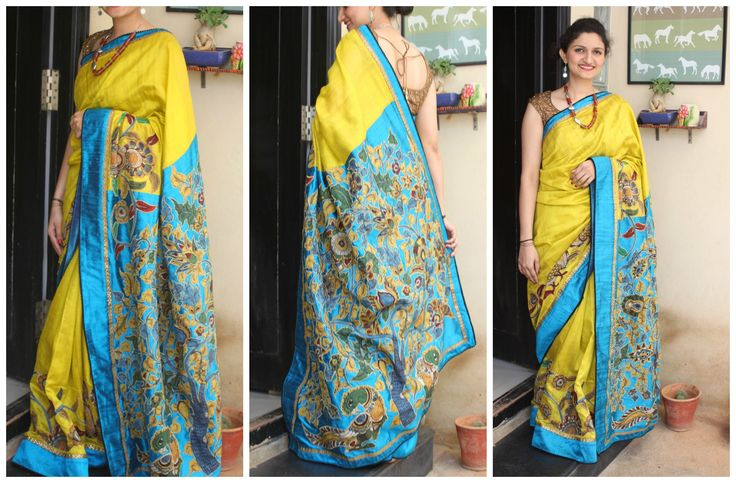 Bright lemon green with blue raw silks saree with the Tree of Life Mural appliqued on the pallu. Tree of Life and border is handpainted in kalamkari style. This saree can be recreated in 2 weeks upon order. Write in at shalimadesigns@gmail.com for more info :)