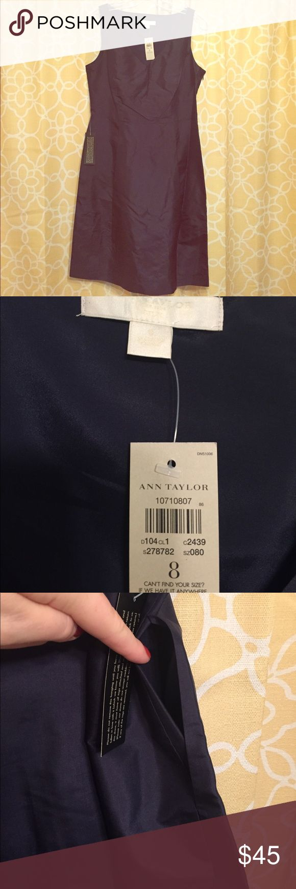 Ann Taylor Silk Dress Gorgeous navy blue silk dress with pockets. Brand new with tags, never worn. Also comes with a small shawl unopened. Smoke free home. Perfect to wear to a wedding this summer or a cocktail party! Ann Taylor Dresses Midi