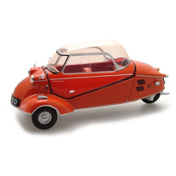 We are excited to introduce an unusual choice in 1:18 scale models... the Messerschmitt KR200 (Kabinenroller or Cabin Scooter), a three wheeled bubble car designed by aircraft engineer Fritz Fend and produced in the Messerschmitt aircraft factory from 1955-1964 . This fabulously detailed replica features the unique tandem seating arrangement, aircraft-like handlebar steering & closing monocoque construction