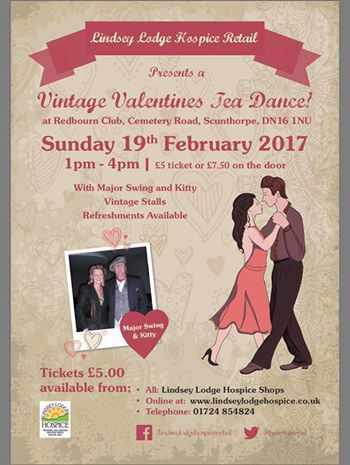 With just less than a month to go until our Valentine Vintage tea dance at Redbourn Club don't leave it to late to get you tickets. Tickets available in all our shops and online at http://www.lindseylodgehospice.co.uk Or Tel 01724 854824