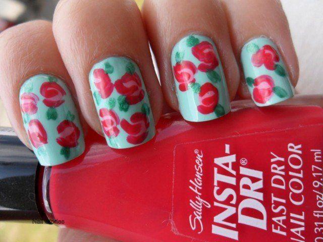 Mint Floral Nail Design