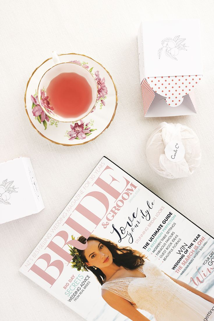 Warm Amber & Peach soap by Camille Co. featured in NZ Bride & Groom Magazine. Packaging design, styling and photography by Design by Cheyney