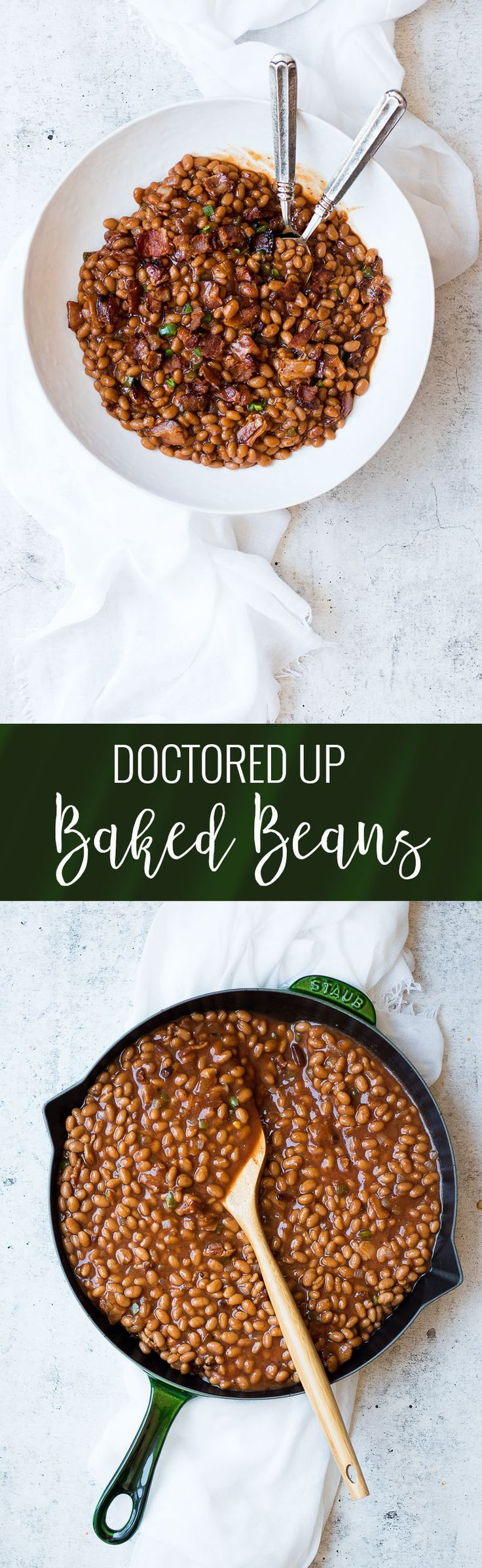 Doctored Up Baked Beans | homemade baked beans recipes | baked bean recipe ideas | baked beans with bacon | baked beans with jalapeno | easy summer side dishes | easy bakes beans recipe | easy barbecue side dish recipes | how to make baked beans || Oh So