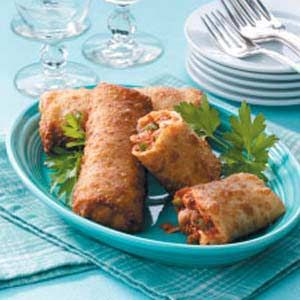 Pizza egg rolls...I usually just use store bought pizza sauce and seasoning, pepperoni and cheese!  So simple.