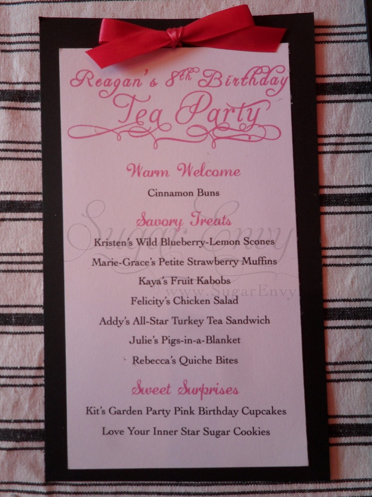 Here is a cute menu idea for