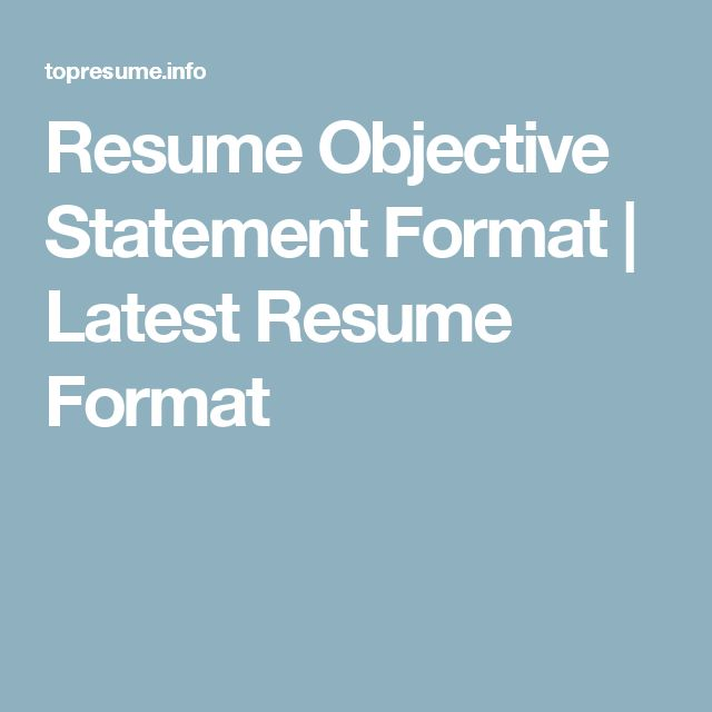 Resume Objective Statement Format | Latest Resume Format