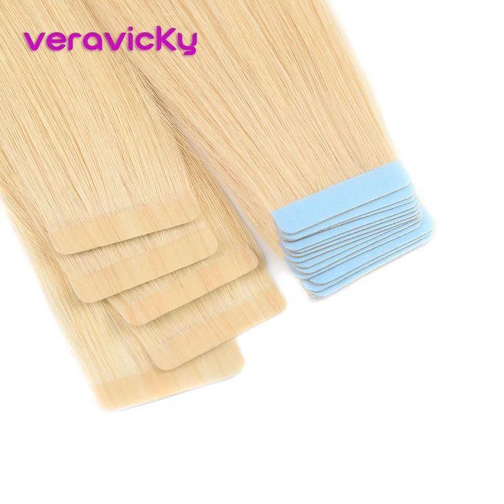 Veravicky Platinum Blonde Tape In Human Hair Exten…