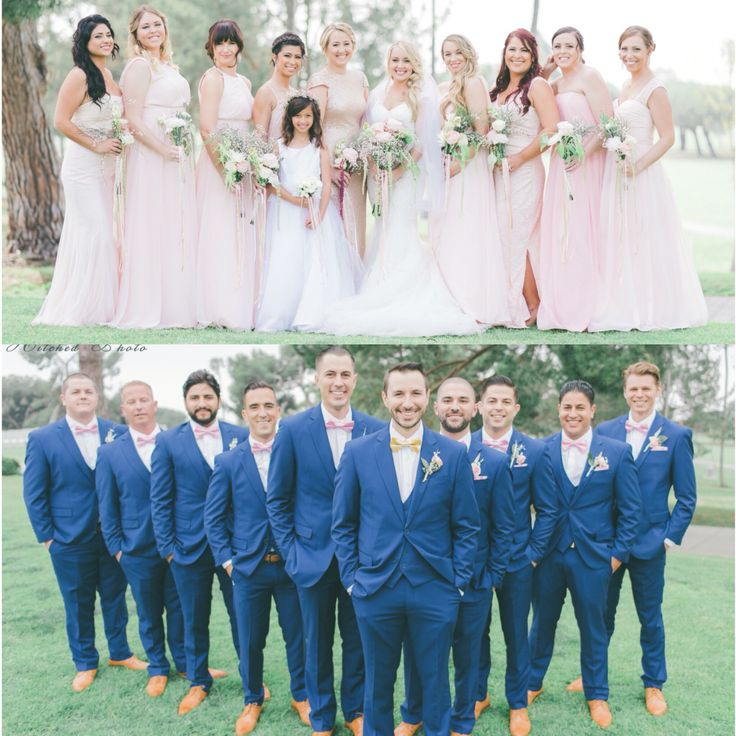Blush wedding blue suits                                                       …
