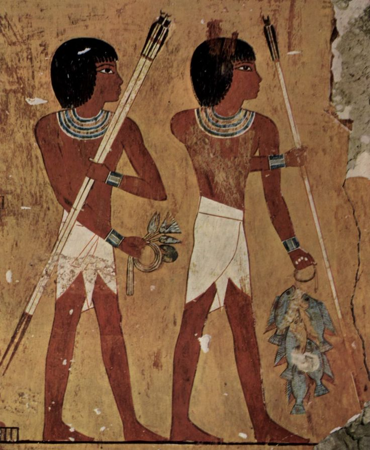 10. Old Kingdom, Egypt. Wearing linen loincloths. Triangular diaper shapes with strings wrapped around the waist.