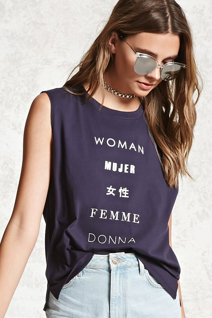 """A soft knit tee featuring a ribbed crew neck, front """"Woman"""" graphics in various languages, a sleeveless cut, vented hem, and boxy silhouette."""