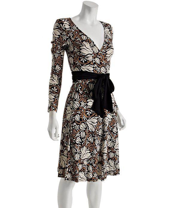 DIANE VON FURSTENBERG Black Floral Vine Jersey 'Camelita' Wrap Dress Size 6 UK 10 Ladies