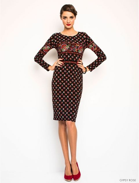 Leona Edmiston Tia Dress in Gypsy Rose Print. A great going out dress that hugs the curves very nicely.