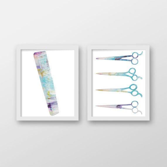 Abstract aquarel schaar Art Print Set - Hair Stylist kunst - schoonheidssalon Decor - kapsalon - Kapper - schoonheidsspecialiste - kunst aan de muur