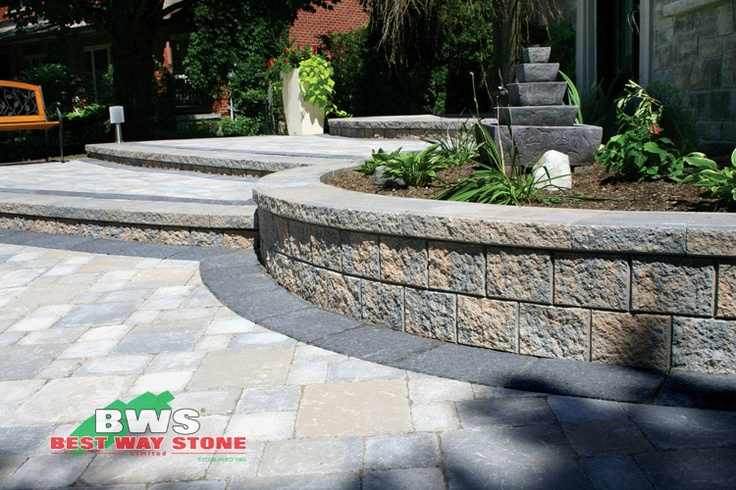 #outdoor #entrance: Best Way Stone > Paver:  Strada Antico (Beige Mix) / Wall: Parkwall (Beige Mix) available at our store at 3500 Mavis Rd, Mississauga, ON L5C 1T8