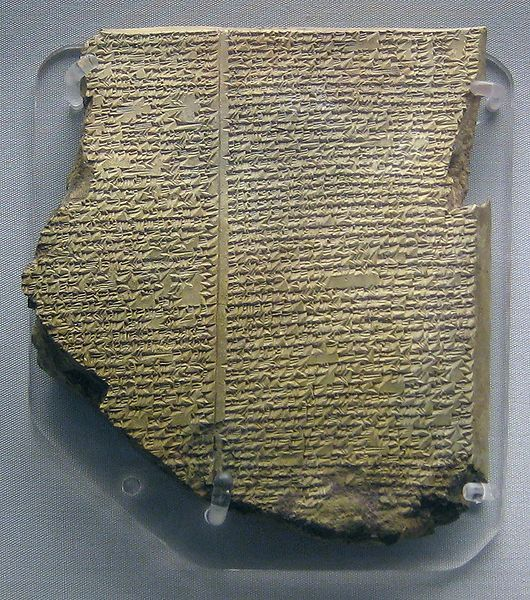 The Flood Tablet, The Epic of Gilgamesh, Tablet 11: Story of the Flood (c.2750-2500 B.C.) clay, Royal Tombs of Ur, Neo-Assyrian - This is the oldest known story in the world that tells of the legendary hero king from the Sumerian city-state of Uruk. Later Mesopotamian civilizations adopted this myth as their own. It began as part of an oral tradition, but was finally written down on 12 clay tablets in cuneiform script.