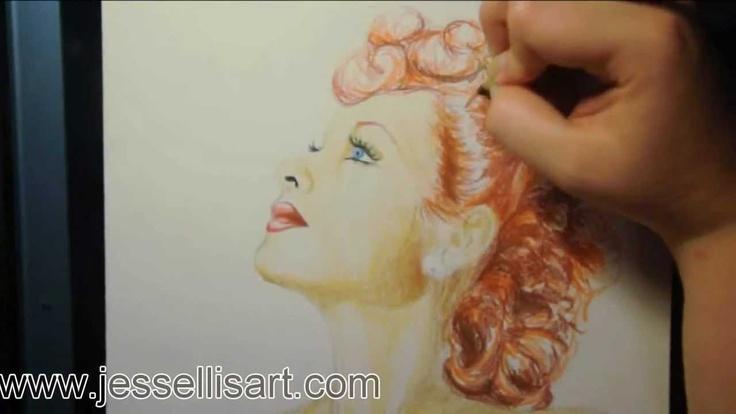 """""""Люсиль Болл"""" в Derwent Цветные карандаши, via YouTube."""
