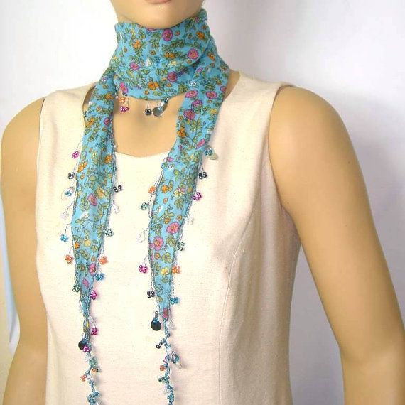 Blue Beaded Scarf Necklace with Pimk Flowers by istanbuloya