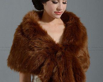 Ivory faux fur wrap bridal wrap faux fur shrug faux by alexbridal