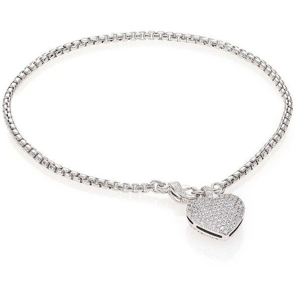 Adriana Orsini Pave Heart Charm Bracelet ($84) ❤ liked on Polyvore featuring jewelry, bracelets, apparel & accessories, silver, adriana orsini, adriana orsini jewelry, lobster claw clasp charms, charm bracelet jewelry and heart charm bracelet