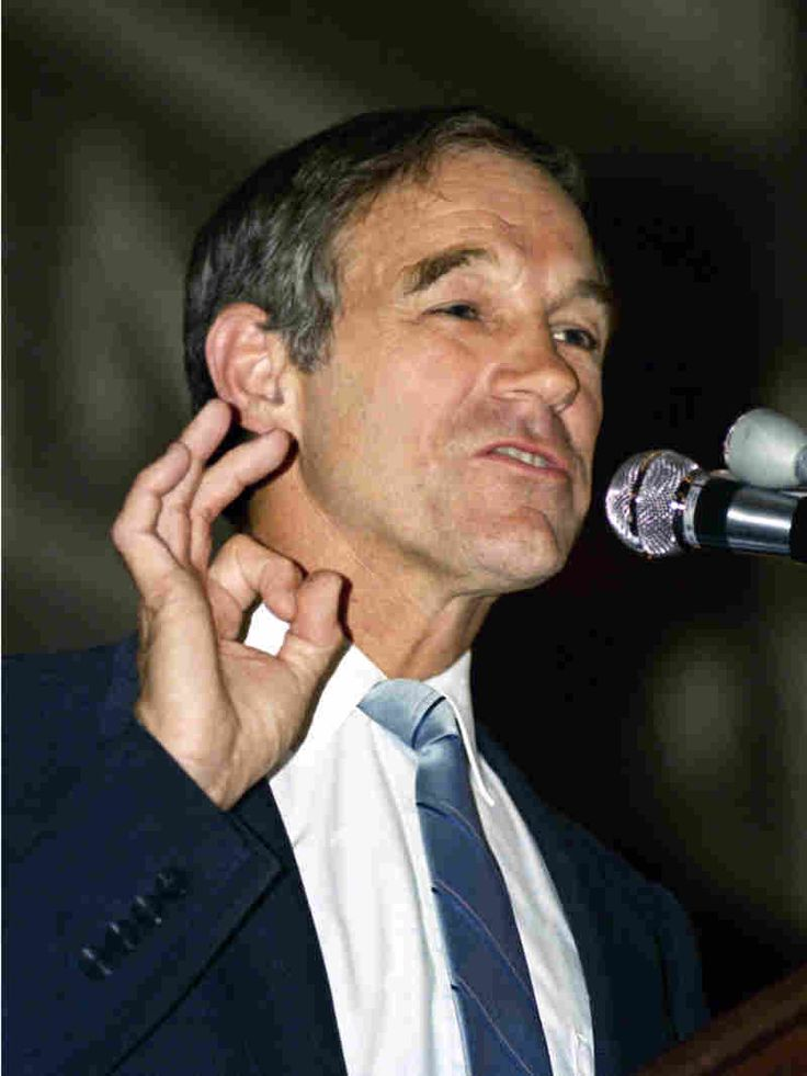 In 1988, then-Libertarian Party presidential candidate Ron Paul speaks at a rally at Boston's Faneuil Hall.