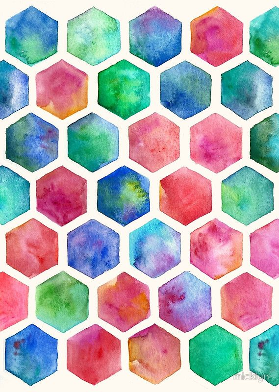Hand Painted Watercolor Honeycomb Pattern