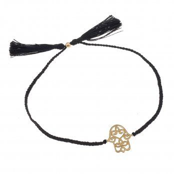 Ananda From the Heart Bracelet • 22kt Gold Vermeil Hamsa • Black
