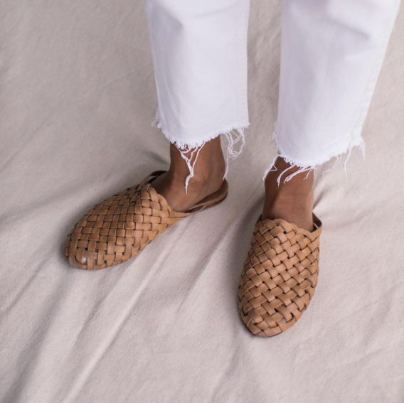 Bunto Woven Tan Leather Loafers by St. Agni