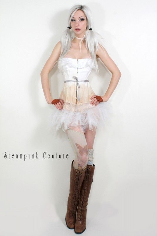 Tea-stained white overbust corset