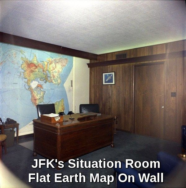 Is That A Flat Earth Map On JFK's Situation Room Wall??
