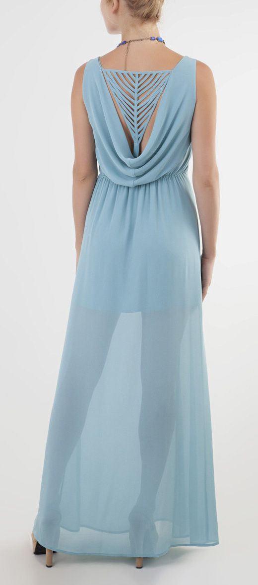 Powder Blue Cutout Sheer Maxi Dress