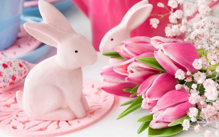 Télécharger fonds d'écran tulipes roses, de Pâques, des lapins, des fleurs de printemps, printemps de vacances