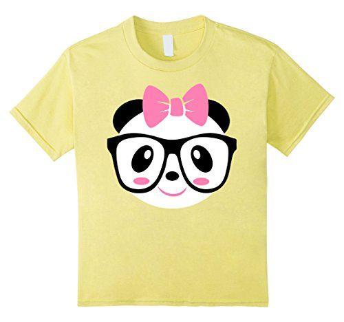 Kids Girl Panda Shirts, Panda Shirt, Cute Panda with Glas...