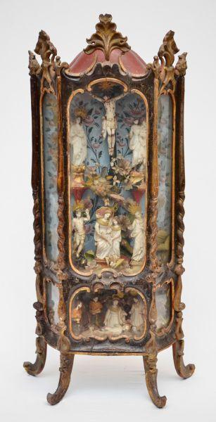 Magnifico e original Oratório Lapinha ( maquineta), com imagens em pedra sabão ( São Sebastião, São