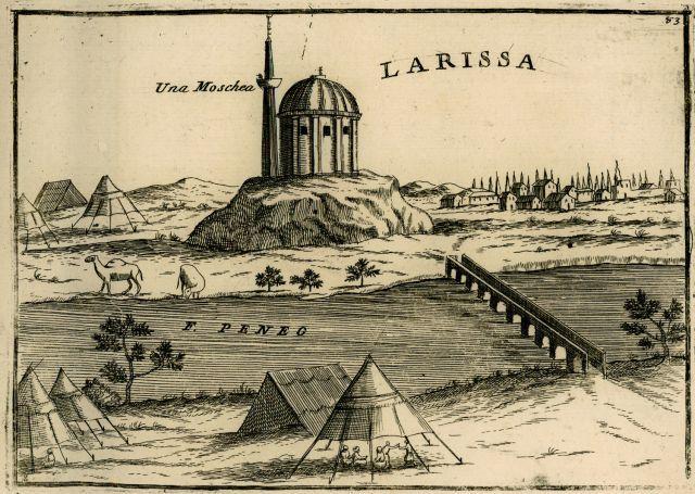 Άποψη της Λάρισας. - CORONELLI, Vincenzo - ME TO BΛΕΜΜΑ ΤΩΝ ΠΕΡΙΗΓΗΤΩΝ - Τόποι - Μνημεία - Άνθρωποι - Νοτιοανατολική Ευρώπη - Ανατολική Μεσόγειος - Ελλάδα - Μικρά Ασία - Νότιος Ιταλία, 15ος - 20ός αιώνας