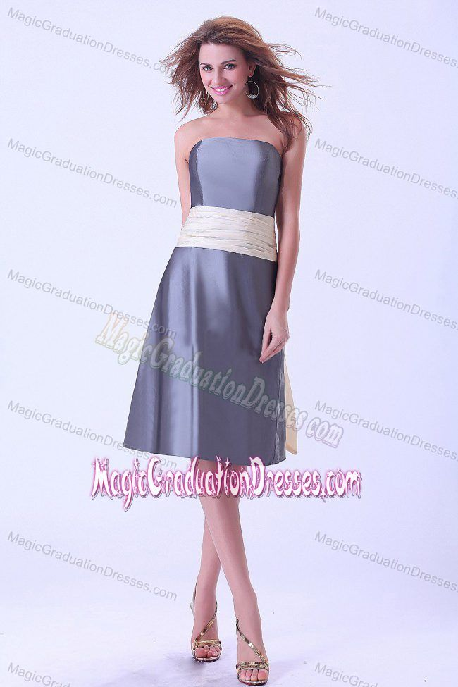 Simple Satin Gray Graduation Dresses for 8th Grade with Champagne Sash