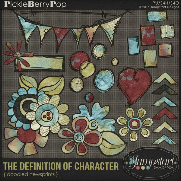 The Definition of Character ~ Doodled Newsprints By Jumpstart Designs