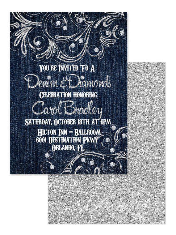 5x7 Denim And Diamonds Invitation You Print Denim And Diamonds Party Denim And Pearls Birthday Denim And Diamonds Denim And Pearls Diamond Invitations