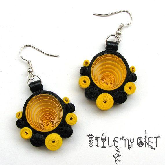 Polka (jaune) - papier piquants de fantaisie boucles d'oreilles