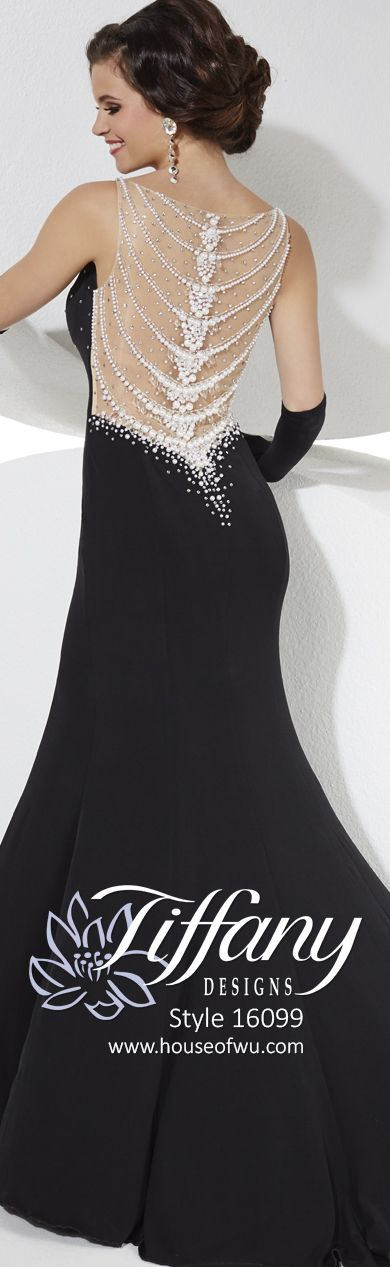 This glamorous gown is sure to be a showstopper. A V-cut neckline is encrusted with glittering beads, while the back features pearls and rhinestone in a draping necklace style. The-fit and-Slim Flare skirt of stretch jersey has a side slit and sweep train. #prom