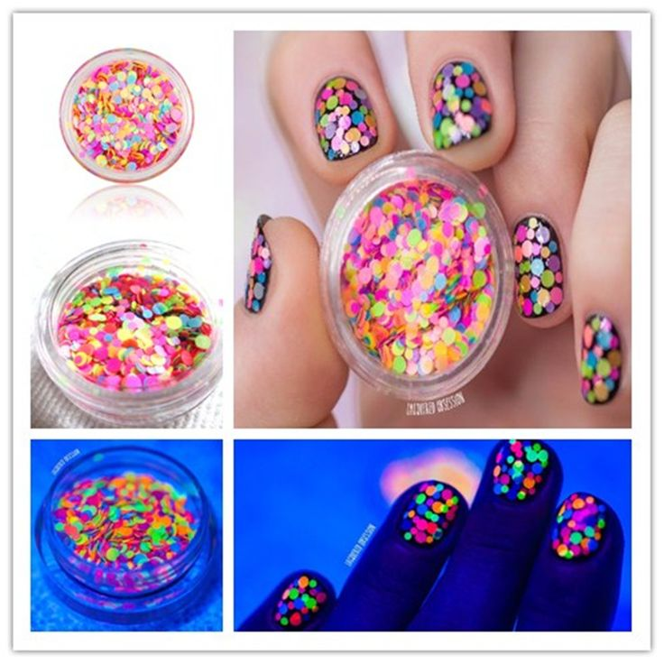 1-2mm Mixed Luminous Nail Art Glitter Decoration Colorful Mini Round Thin Paillette Design For DIY Nail Glitter Tips # 15085