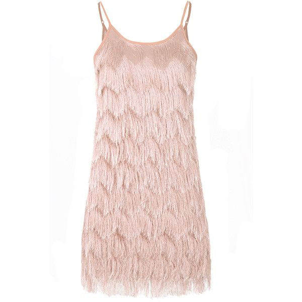 Light Pink Soft Fringe Cami Dress ($33) ❤ liked on Polyvore featuring dresses, dresses pink, pink, light pink cami, body con dress, going out dresses, pink party dress and pink dress