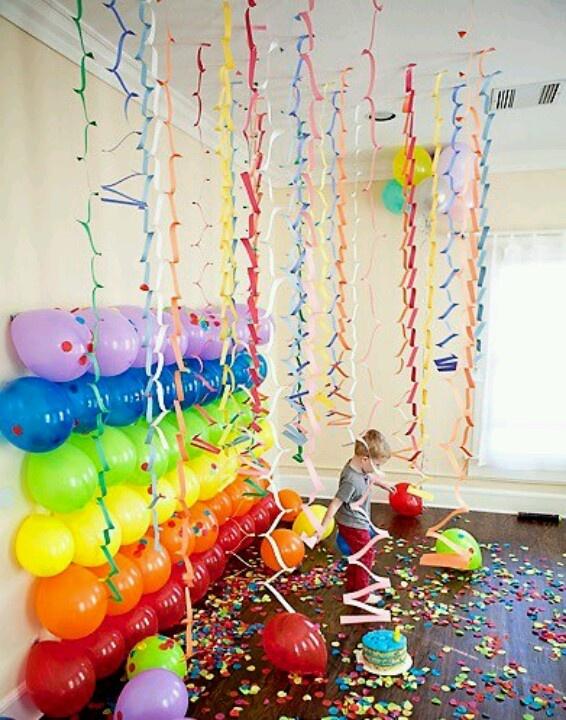 Balloon wall! Great idea for birthday party photos.
