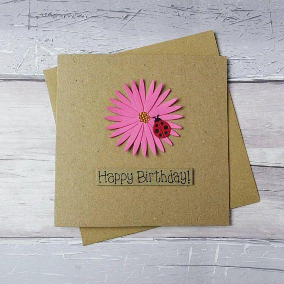 Gerbera Daisy birthday card Ladybird birthday card Ladybug