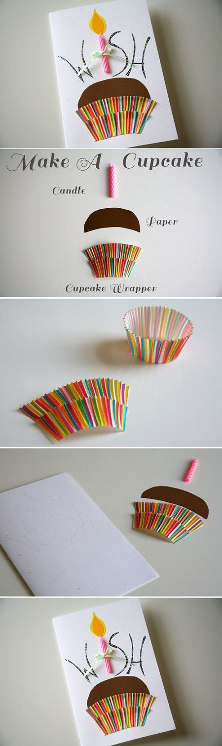 Clever handmade cupcake birthday card using an actual paper cupcake holder and candle.