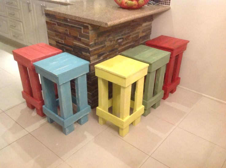 Colourful rustic stools made from pallet wood, by Touchwood Creations