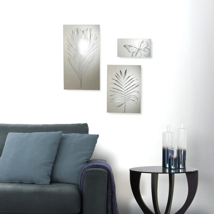 Clear Garden Wall Decor By Umbra Set Of 3 Mirrored Glass Tiles Feature Fern Feather