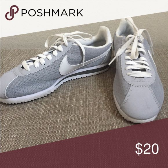 Nike size 7 women's Cortez. Mesh Material. Light grey with white trimmings. Slightly used( 4 times) Machine washable. Nike Shoes Athletic Shoes