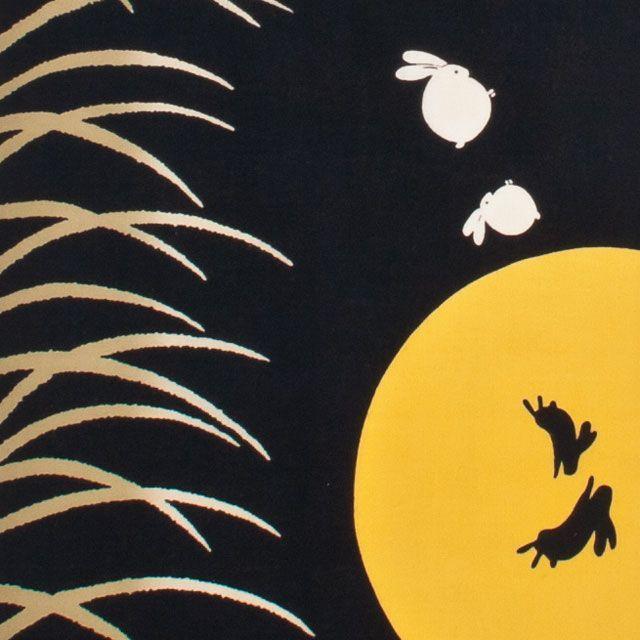 【お月見:季節行事:ウサギ:餅つき:タペストリー:壁飾り】。【ゆうパケット送料無料!※宅配便を選択時は送料がかかります。(ご注文後にこちらで追加します。)】【手ぬぐい:秋模様】和布華-わふか-『かぐやうさぎ』