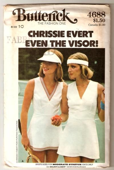 Butterick 4688 1970s Chrissie Evert for Puritan Fashions pattern for tennis dress, briefs, and visor